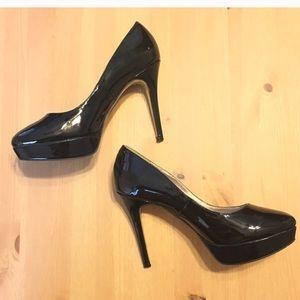 Steve Madden Saane Black Platform Heels 8.5